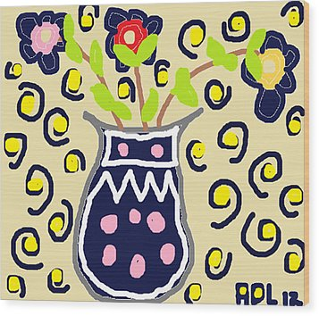 Wood Print featuring the painting Navy Flowers In A Vaz by Anita Dale Livaditis