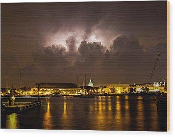 Navy Lightning Wood Print by Jennifer Casey