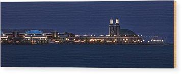 Navy Pier At Twilight Wood Print by Andrew Soundarajan