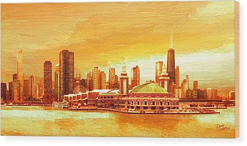Navy Pier Chicago --autumn Wood Print by Doug Kreuger