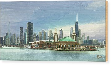 Navy Pier Chicago --winter Wood Print by Doug Kreuger
