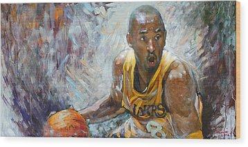 Nba Lakers Kobe Black Mamba Wood Print by Ylli Haruni