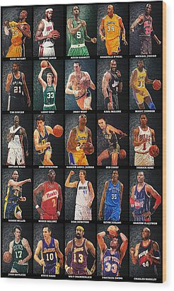 Nba Legends Wood Print by Taylan Apukovska