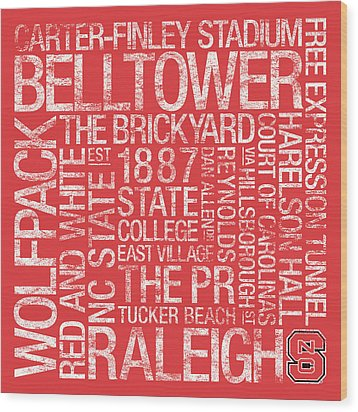 Nc State College Colors Subway Art Wood Print by Replay Photos