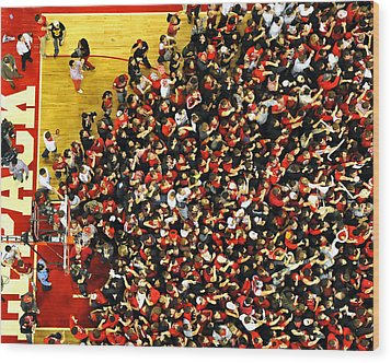 Nc State Fans Celebrate At Pnc Arena Wood Print by Replay Photos