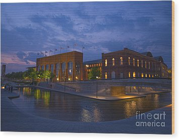 Ncaa Hall Of Champions Blue Hour Wide Wood Print by David Haskett