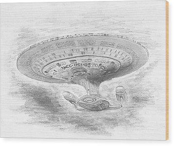 Ncc-1701-d Enterprise Wood Print by Michael Penny