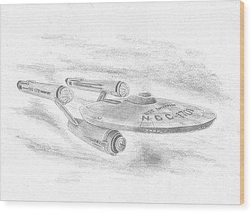 Ncc-1701 Enterprise Wood Print by Michael Penny
