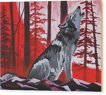 Wolf With Red Sky Wood Print