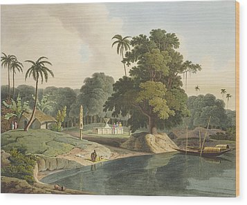 Near Bandell On The River Hoogly, Plate Wood Print by Thomas & William Daniell