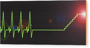 Near-death Experience, Heartbeat Trace Wood Print by Science Photo Library