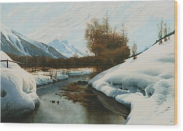 Near La Punt St Morritz In The Engadine Valley Wood Print by Peder Monsted