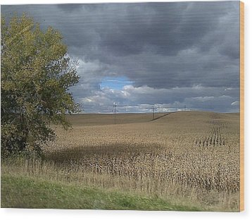 Wood Print featuring the photograph Nebraska Cornfield by Lea Wiggins
