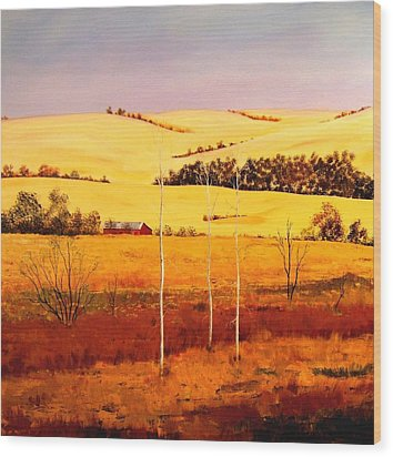 Wood Print featuring the painting Nebraska Plains by William Renzulli