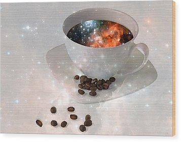 Nectar From Heaven - Coffee Art By Sharon Cummings Wood Print by Sharon Cummings