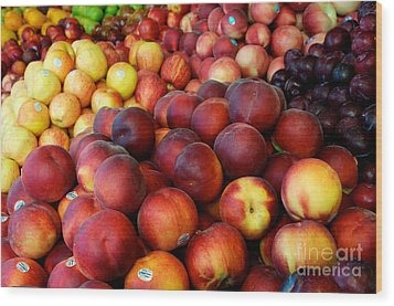Wood Print featuring the photograph Nectarines At Rest by Vinnie Oakes
