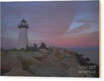 Ned's Point At Sunset Wood Print