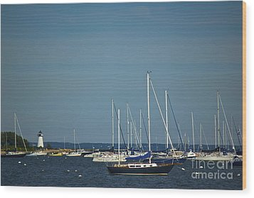 Ned's Point Lighthouse With Sailboats Wood Print by Amazing Jules