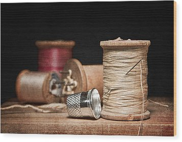 Needle And Thread Wood Print by Tom Mc Nemar