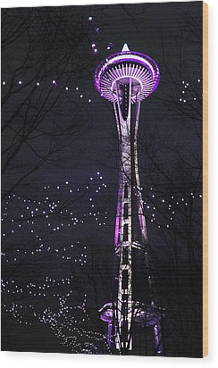 Needle In Purple Wood Print by Sonya Lang