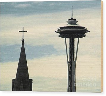 Wood Print featuring the photograph Seattle Washington Space  Needle Steeple And Cross by Michael Hoard