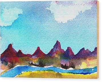 Wood Print featuring the painting Needles Mountains by Anne Duke