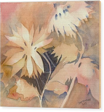 Negative Flowers Wood Print
