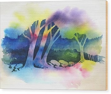 Negative Trees Wood Print by Renee Goularte
