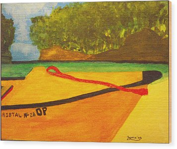 Negril Fishing Boat Wood Print