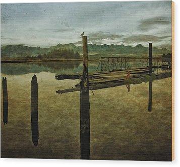 Nehalem Bay Reflections Wood Print