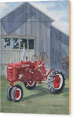 Neighbor Don's Farmall Wood Print by Marsha Elliott