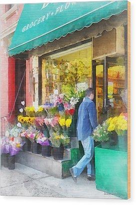 Neighborhood Flower Shop Wood Print by Susan Savad