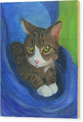 Wood Print featuring the painting Neighbor's Cat In Stroller by Jeanne Kay Juhos