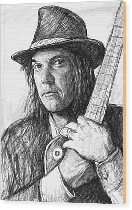 Neil Young Art Drawing Sketch Portrait Wood Print by Kim Wang