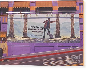 Neil Young Billboard Wood Print by Frank Bez