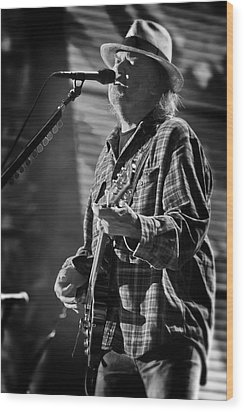 Neil Young Singing And Playing Guitar In Black And White Wood Print by Jennifer Rondinelli Reilly - Fine Art Photography