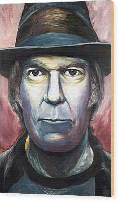 Neil Young Harvest Wood Print by Mike Underwood