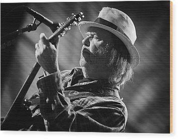 Neil Young In Black And White 2 Wood Print by Jennifer Rondinelli Reilly - Fine Art Photography