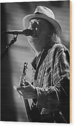Neil Young On Guitar At Farm Aid 2010 Wood Print by Jennifer Rondinelli Reilly - Fine Art Photography