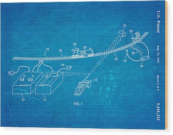 Neil Young Train Control Patent Art 1995 Blueprint Wood Print by Ian Monk