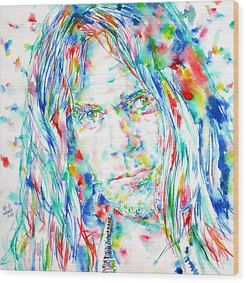 Neil Young - Watercolor Portrait Wood Print by Fabrizio Cassetta