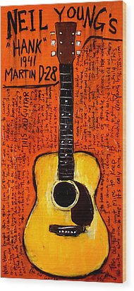 Neil Youngs Hank Martin Guitar Wood Print by Karl Haglund