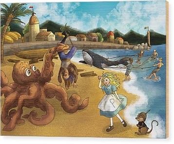 Nellie The Octopus Wood Print by Reynold Jay