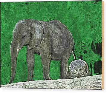 Wood Print featuring the digital art Nelly The Elephant by Pennie  McCracken