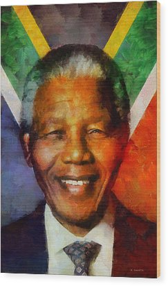 Wood Print featuring the digital art Nelson Mandela 1918-2013 by Kai Saarto