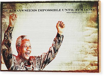 Nelson Mandela Wood Print by Spikey Mouse Photography