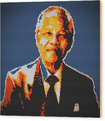 Nelson Mandela Lego Pop Art Wood Print by Georgeta Blanaru