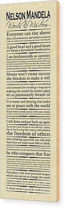 Nelson Mandela Words And Wisdom - Vertical Wood Print by Ginny Gaura