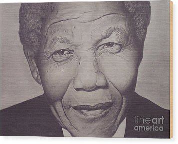 Wood Print featuring the drawing Nelson Mandela by Wil Golden
