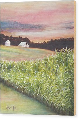 Wood Print featuring the painting Neola Corn 2 by Arthur Fix